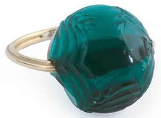 Lalique  1919 Epis-2 Ring: green cabochon style wheat decorated glass on metal shank