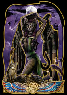 Bast, an Egyptian Goddess ~ The famous cat Goddess, she protected pregnant woman and children. Bast was a very sensual Goddess who enjoyed music, dance and perfume. Bastet Goddess, Egyptian Cat Goddess, Egyptian Cats, Egyptian Mythology, Egyptian Women, Moon Goddess, Mythical Creatures List, Anubis, Fantasy