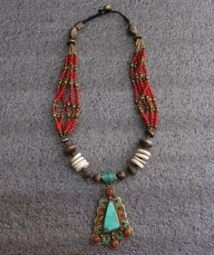 Coral and Turquoise Necklace, Brass Artisan Jewelry from Nepal, Tibetan Necklace, Brass Necklace on Etsy, $65.00