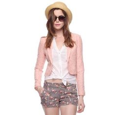 Light Pink Blush Peach Floral Lace Cropped Blazer Same style, different color as seen on celebrities such as Selena Gomez and Victoria Justice...  A lace jacket to sweeten up your look features tonal lining, single breasted construction and hidden hook-eye closure for a perfect fit in the waist. Long sleeves. Padded shoulders. Notched lapel. Lightweight. Knit.  - Shell: 75% cotton, 25% nylon; Lining: 100% polyester  Read the reviews at…