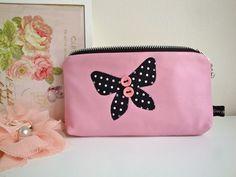 Handmade Pink Leather Make up bag - pencil case  £8.95