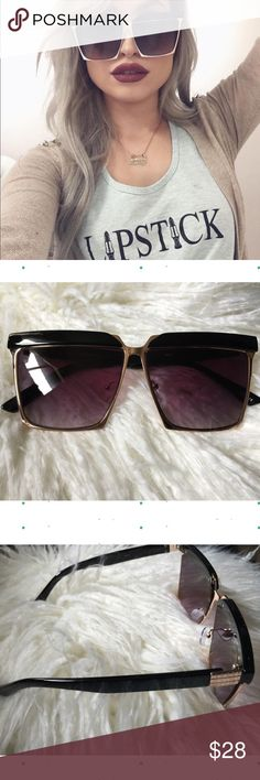 """⚡️1 HR SALE⚡️ Oversized Angular Flat Top Sunnies New - PRICE FIRM Oversized Black/Gold Angular Flat Top Squared Sunnies.  UVA & UVB Protection  * Oversized * Flat Angular Browline  * Adjustable Silicone Nose Pads   * Microfiber Bag Included (color will vary) 62mm(W) 46mm(H) 18mm(BR) 147mm Total Frame                                                          ❌TRADES ❌ LOWBALL OFFERS  ✅ USE THE """"ADD TO BUNDLE"""" TO GET 15% DISCOUNT ON 2+ ITEMS ✅  POSH RULES   Accessories Glasses"""