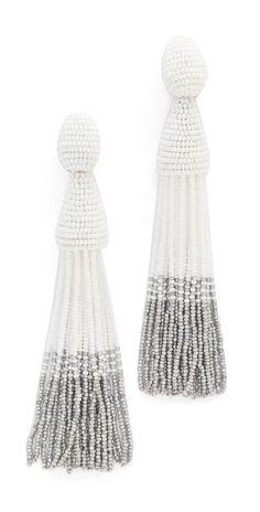 Oscar de la Renta Long Ombre Tassel Clip On Earrings   SHOPBOP