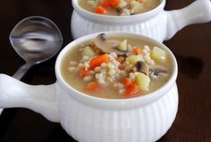 Mushroom Barley Soup - bring the Jewish deli experience home with this Vegetarian Mushroom Barley Soup - add kale for a full meal.