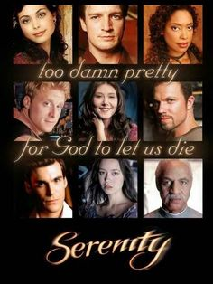 The Crew of Firefly. Listed from left to right top to bottom: Inara, Mal, Zoe, Wash, Kaylee, Jayne, Simon, River, and Shepherd Book.