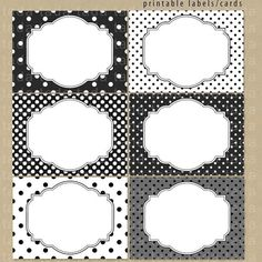 Items similar to Printable Labels/Cards for journaling, scrapbooking, gift giving, mailing – Black and White Dots on Etsy – Soy Candles İdeas Free Printable Cards, Printable Labels, Printables, Transfer Images To Wood, Bar Noir, Doodle Frames, Etiquette Vintage, Spice Labels, Classroom Labels