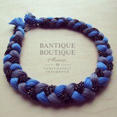 Купить Колье TRIO BLUE/GREY - серый, синий, коса, колье, джинс, джинса, джинсовый стиль
