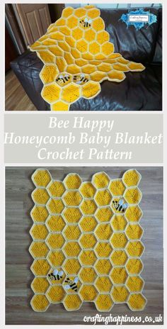 Oh my 😍 Crochet Tutorial: Bee Happy Honeycomb Baby Blanket Free Pattern - Crafting Happiness 25 Coolest Tattoo Ideas For Girls I don't smoke, yet I'm always obsessing over smoking photos. Need: Crochet hook, yarn Permanent blanket products swaps roomy Beau Crochet, Baby Afghan Crochet, Manta Crochet, Baby Afghans, Crochet Blanket Patterns, Crochet Stitches, Free Crochet, Knit Crochet, Booties Crochet