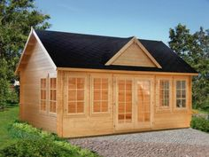 Featuring a popular design with multiple windows, this cottage-style kit cabin allows abundant natural light inside. This cabin makes an excellent pool house, guest house, summer house Cabin Kits For Sale, Log Cabin Kits, Tiny Cabins For Sale, Tiny Log Cabins, Small Cabins, Shed Plans, House Plans, Lakeview Cabin, Plan Chalet