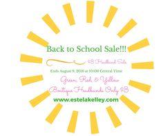 Back to School Sale! $4.00 a side headbands! All custom cut, made in the USA.Custom Orders! BACK TO SCHOOL SALE!!!