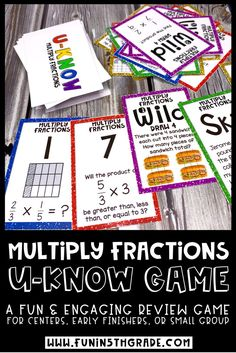 Looking for a math activity that your students will LOVE?  This U-Know math game is perfect for review of multiplying fractions.  This hands on game covers multiplying with fractions by whole numbers and other fractions as well as word problems with fractions.  This game is a repetitive way to teach fractions which can be used in small groups, centers, math stations and even early finishers.  #mathgames #fractions #multiplication