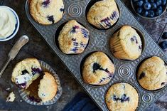 These classic blueberry muffins are made with our gluten-free baking mix. Whole Wheat Blueberry Muffins, Gluten Free Blueberry Muffins, Blue Berry Muffins, Sourdough Muffin Recipe, Sourdough Recipes, Bisquick Recipes, Flour Recipes, Sourdough Bread, Gluten Free Baking Mix