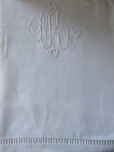 Huge vintage French metis  Linen  Monogrammed Bed Sheet in fantastic condition.. $85.00, via Etsy.