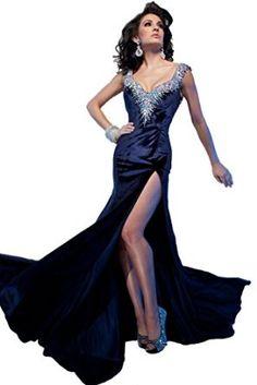 Tony Bowls Long Pageant Dress in Crystal Beaded Velvet 212C82, Navy, 6