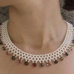 Elegant Tourmaline And Seed Pearl Fringe Lace Necklace , by Marina J
