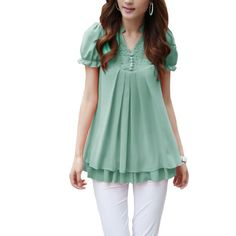 Women Flouncing Lace Solid Color V Neck Flare Shirts Ekberg,http://www.amazon.com/dp/B00E0IVC46/ref=cm_sw_r_pi_dp_A6hntb06J77ZQVDY