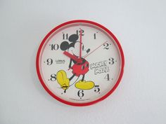 from ikea mickey mouse wall clock red frame lorus quartz japan by yotaeji on etsy