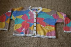 Vintage 1980's - Clifford Wills Sweater Crop Multicolored gold buttoned cardigan by TheMercerStreetHouse on Etsy