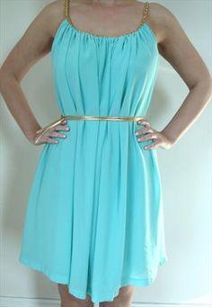 Mint Green Grecian Goddess Dress with Gold Plaited Neckline