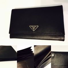 Authentic Prada Large Saffiano Leather Bifold Checkbook Accordion Fold Wallet | eBay