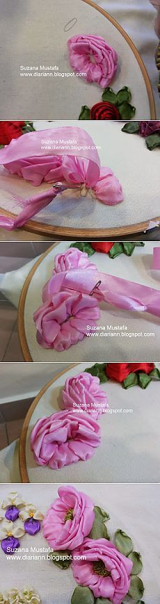 Wonderful Ribbon Embroidery Flowers by Hand Ideas. Enchanting Ribbon Embroidery Flowers by Hand Ideas. Ribbon Art, Diy Ribbon, Ribbon Crafts, Flower Crafts, Learn Embroidery, Hand Embroidery Patterns, Embroidery Stitches, Embroidery Designs, Ribbon Embroidery Tutorial