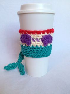 Hand crocheted Ariel inspired coffee cup cozy from The Little Mermaid. Fits most to-go and reusable hot AND cold cups.    Collect all the Disney