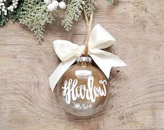 Custom Holiday Ornament, Custom Holiday Calligraphy Ornament, Personalized Christmas Ornament Name, Gold Ornament, Ombre Ornament