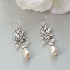 Pearl and Rhinestone Earrings Chandelier Earrings by LizardiBridal