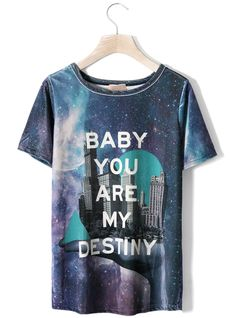 Galaxy City Print Velvet T-shirt $39! All blouses are 20% off now, code: blouse20 !  http://www.udobuy.com/category-37-b0.html
