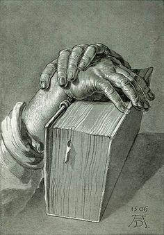 Albrecht Durer, Estudo de mãos com Bíblia, 1506, desenho.