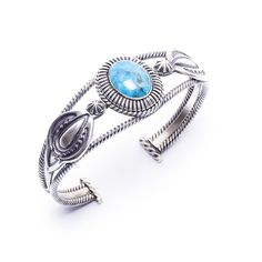 New Turquoise and Sterling Twistwire Bracelet by Navajo artist RB! $195.00 https://www.oldtownjewels.com/best-selection-of-native-american-jewelry/bracelets/navajo-made-rb-turquoise-bracelet-2/