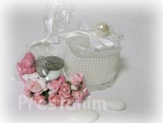 Boîte à dragées vintage mariage rétro romantique vieux rose