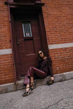 Self Portrait Ruffle Top & Patent Leather Pants