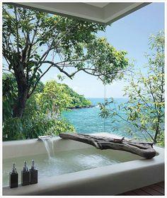 Beach house bathtub with an amazing view...