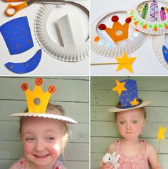 Perfect ideas for Carnival by recycling dishes and glasses basteln m . - Perfect ideas for Carnival by recycling . Preschool Crafts, Diy And Crafts, Crafts For Kids, Arts And Crafts, Projects For Kids, Diy For Kids, Craft Projects, Hat Crafts, Paper Plate Crafts