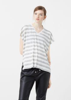 Mujer Camisetas España diseño Rayas de Camisetas Manga MANGO Corta Camiseta rayas Mujer wEIq7Zp