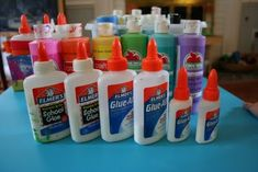 Add acrylic paint to Elmers glue for mixed media art. Outline shapes with colored glue and fill with watercolor inbetween spaces.