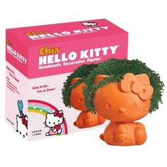 Chia Pets are fun and now you can have a fun Hello Kitty one. Hello Kitty will grow Chia Hair witch would look fun. Chat Hello Kitty, Hello Kitty Gifts, Hello Kitty Items, Chocolate Banana Pudding, Chia Pet, Decoration Plante, Hello Kitty Collection, Thing 1, Decorative Planters
