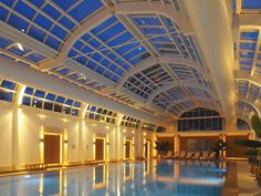 Four Seasons Spa, in Hampshire, England, features a 66-foot-long indoor swimming pool that can open to the outdoor pool