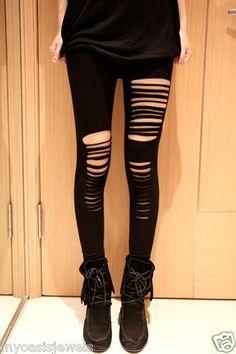Fashion Leggings Legging Punk Gothic Ripped Destroyed Black Fashion Tights