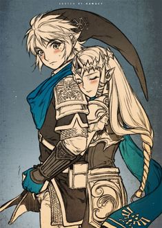 The Legend of Zelda /Hyrule Warriors - Link & Zelda The Legend Of Zelda, Legend Of Zelda Breath, Zelda Twilight Princess, Link Zelda, Link And Zelda Kiss, Film Manga, Anime Manga, Video Game Art, Video Games