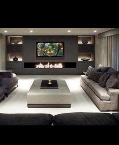 64 Idea Decorating A Narrow Living Room Layout With A Fireplace And Tv 14 - Home Sweet Narrow Living Room, Living Room Tv, Living Room With Fireplace, Fireplace Wall, Small Living, Wall Units With Fireplace, Fireplace Modern, Fireplace Inserts, Fireplace Ideas