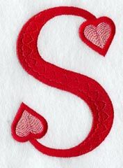 THE LETTER SS Red Hearts