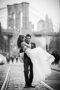 Photography : Sarah Tew Photography   Wedding Dress : Reem Acra Read More on SMP: http://www.stylemepretty.com/new-york-weddings/new-york-city/brooklyn/dumbo-brooklyn/2015/05/19/elegant-nyc-fall-wedding-at-26-bridge-street/