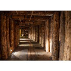 liwwing (R) Vlies Fototapete Salt Mine | Vliestapete Salzbergwerk braun Holz Bergwerk rustikal Balken 3D Tunnel