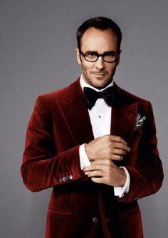 Mens style: Tom Ford. Red velvet dinner jacket blazer #mensfashion
