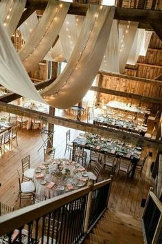 Rustic Wedding Theme Ideas - Use burlap for ceiling decoration