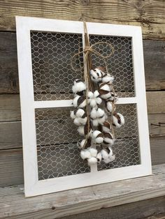 This is a medium sized chicken wire window frame. This will add the perfect touch to your farmhouse Country Wall Decor, Farmhouse Wall Decor, Rustic Wall Decor, Modern Farmhouse, Country Chic, Farmhouse Furniture, Farmhouse Style, Window Frame Decor, Old Window Frames
