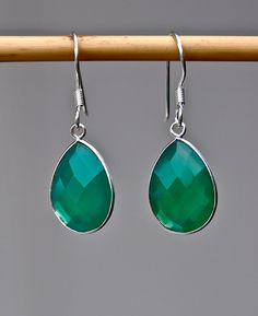 Emerald Green Onyx Earrings for the Holidays by LolaBelleGems