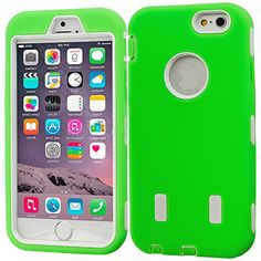 """myLife Hybrid Shock Absorbing {Built In Screen Protector} Case for iPhone 6 (6G) 6th Generation Phone by Apple, 4.7"""" Screen Version {Neon Green + Epic White """"Neon Design"""" Neo Hybrid Three Piece with Layered Flex Gel SECURE-Fit Armor} myLife Brand Products http://www.amazon.com/dp/B00QJ48RWO/ref=cm_sw_r_pi_dp_.2HHub1YHN0N5"""
